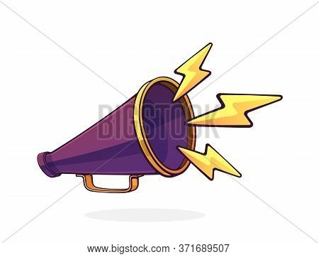 Retro Megaphone With Lightnings Symbol Of Noise. Hand Loud Speaker. Voice Audio Information And Sale