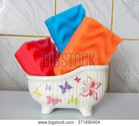 Beautiful Multi-colored Sponges In A Special Bath For Sponges
