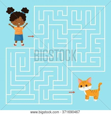 Educational Maze Game For Preschool Kids. Help The Girl Find Right Way To Her Cat. Kawaii Cartoon Ve