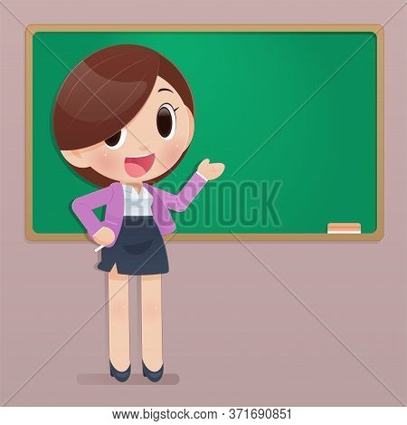 Back To School, Teacher Illustration In Front Of The Board With Copy Space For Your Text, Concepts F