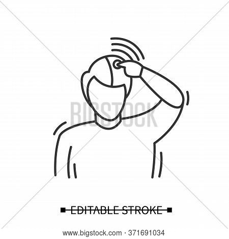 Cluster Headache Icon. Linear Pictogram Of Male Person Touching Painfully Pulsating Head. Disease Sy
