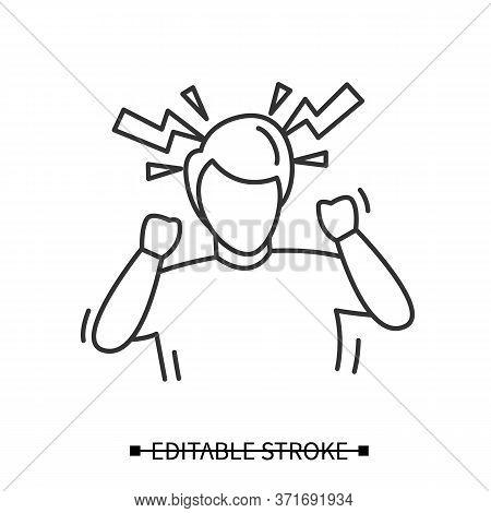 Headache Icon. Man, Suffering Hypertension Headache, With Linear Lighting Bolts Line Pictogram. Arte