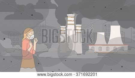 Young Unhappy Girl Wearing Protective Face Mask And Walking Near Factory Pipes Vector Cartoon Outlin