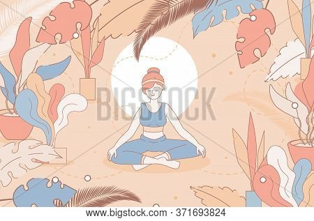 Happy Woman Sitting Cross-legged And Meditating In Nature Vector Cartoon Outline Illustration. Pract