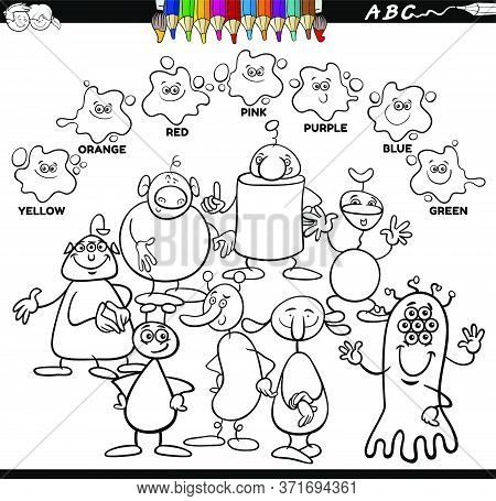 Black And White Educational Cartoon Illustration Of Basic Colors With Aliens Or Fantasy Characters G
