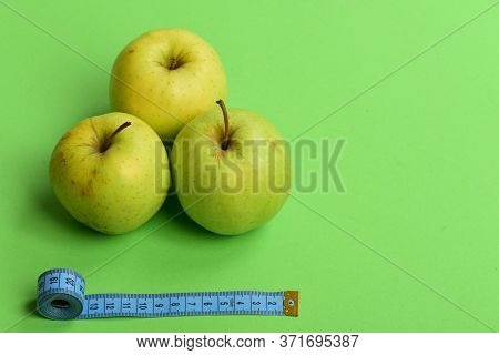 Diet And Sport Regime Concept. Pattern Made Of Apple Fruits