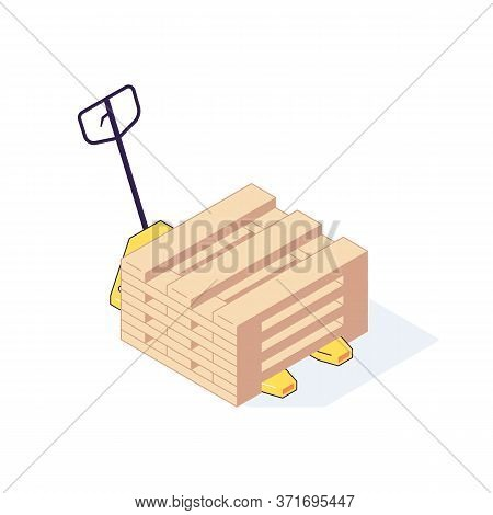 Isometric Warehouse Transport Pallets Equipment Load. 3d Storage Pallets Shelving Racking Stacking V