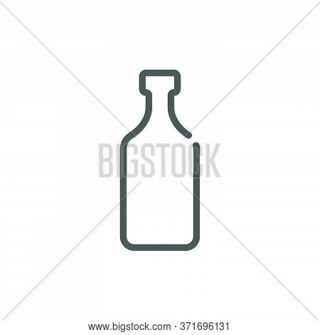 Rum Bottle In Flat Style On White Background. Simple Template Design. Beverage Icon Design. Isolated