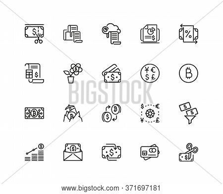 Currency Icons. Set Of Twenty Line Icons. Dollar, Bitcoin, Credit Card. Currency Exchange Concept. I