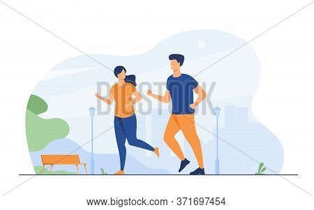 Happy Smiling Couple Running At Summer Park Flat Vector Illustration. Two Cartoon Runners Jogging Ma