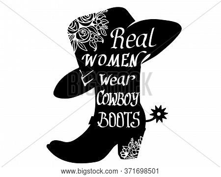 Cowboy Boot Silhouette With Text. Vector Cowgirl Party Printable Illustration Isolated On White