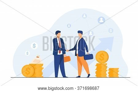 Two Business Partners Handshaking Flat Vector Illustration. Cartoon Businessmen Concluding Agreement