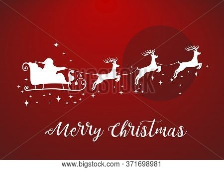 Vector Illustration Of Santa Claus Driving In A Sledge. Santa Claus With Deers Icon With Lettering M