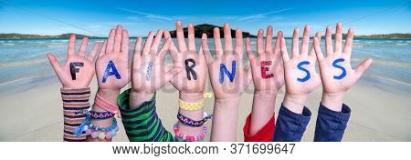 Children Hands Building Word Fairness, Ocean Background