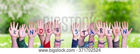 Children Hands Building Kinder Staerken Means Strengthen Children, Grass Meadow