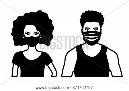 Set Of Black And White Front View Vector Icons Of An African American Man And A Woman  Wearing Prote
