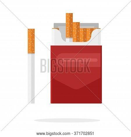 Cigarettes Pack Vector Carton Box Flat Cartoon Isolated Illustration, Smoking Tobacco Packet Mockup