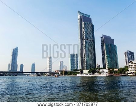 Chao Phraya River Bangkok Thailand-17 December 2018:the Ship Is Sailing In The Chao Phraya River.on