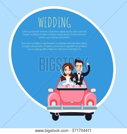 Wedding Template Card, Smiling Newlyweds With Rising Hands Standing In Holiday Car With Flowers, Gro