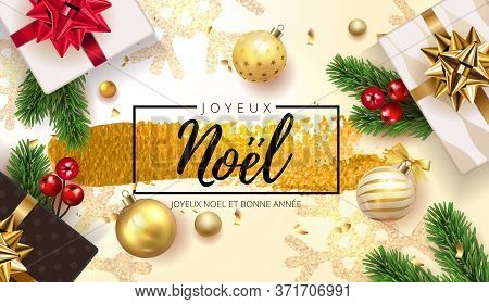 French Lettering Joyeux Noel - Happy New Year And Merry Christmas. Christmas Greeting Background Wit