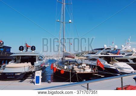 Yalikavak, Turkey Circa May 2020: Yacht Club In Yalikavak Marina, Yachting In The Mediterranean Sea