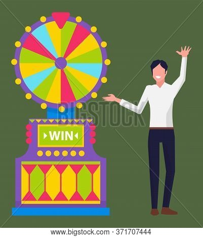 Gambling Businessman Wearing Formal Clothes Vector, Isolated Man Dancing By Slot Machine With Segmen