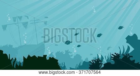 Sea Underwater Background. Cartoon Style. Vector Illustration. Sunken Ship, Underwater Plants, Coral