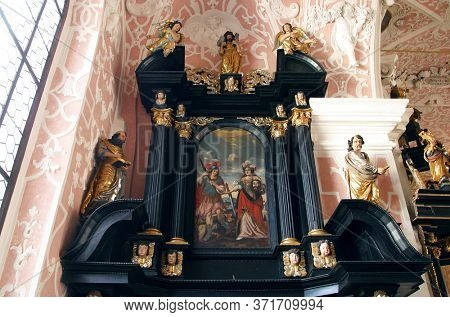 ZAGREB, CROATIA - MAY 16, 2013: Altar of the Holy Spirit in the Church of Saint Catherine of Alexandria in Zagreb, Croatia