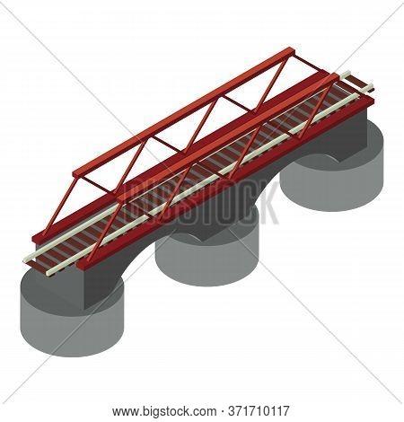 Railway Bridge Icon. Isometric Of Railway Bridge Vector Icon For Web Design Isolated On White Backgr