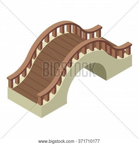 Wood Bridge Icon. Isometric Of Wood Bridge Vector Icon For Web Design Isolated On White Background