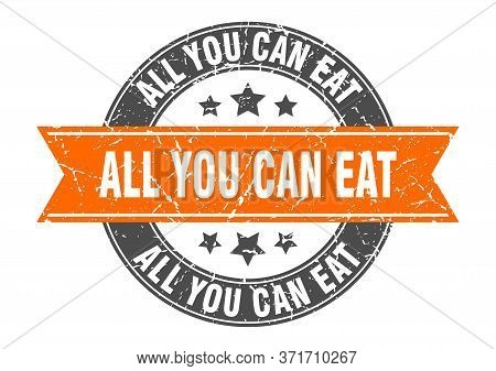 All You Can Eat Round Stamp With Orange Ribbon. All You Can Eat