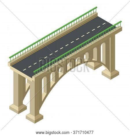 Architecture Bridge Icon. Isometric Of Architecture Bridge Vector Icon For Web Design Isolated On Wh