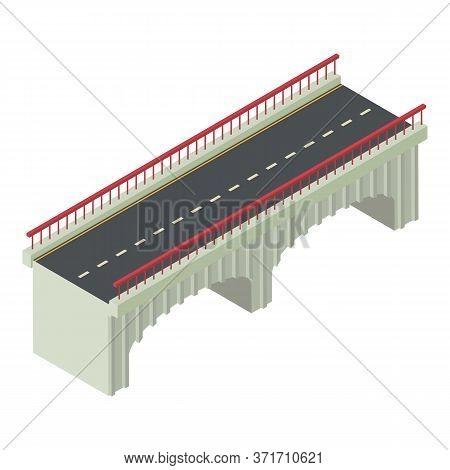 Construction Bridge Icon. Isometric Of Construction Bridge Vector Icon For Web Design Isolated On Wh