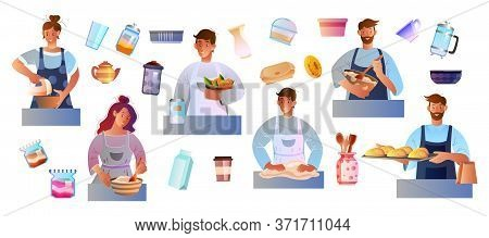 Culinary Set With People Cooking, Baking, Kneading The Dough. Female And Male Characters Preparing F