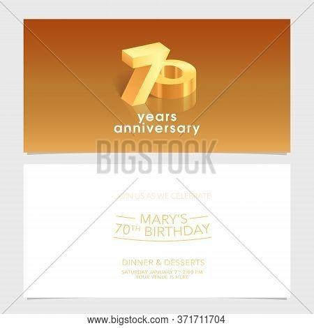 70 Years Anniversary Invitation Card Vector Illustration. Design Template Element