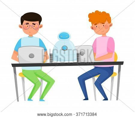 Boys Teenagers Sitting At Table Engineering And Configurating Robot Vector Illustration