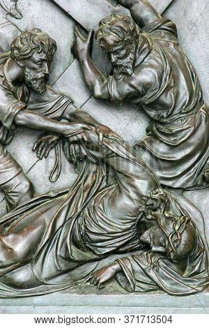 ZAGREB, CROATIA - NOVEMBER 12, 2012: 9th Stations of the Cross, Jesus falls the third time, St Francis Xavier's Church in Zagreb, Croatia
