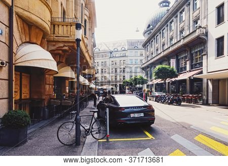 Zurich, Switzerland Circa September, 2019: Bahnhofstrasse In Zurich, Switzerland, Main Downtown Stre