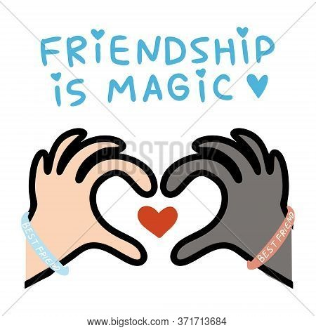 Concept Illustrations Of The Magic Of Friendship To The World Day Of Friendship. Friendship Has No R