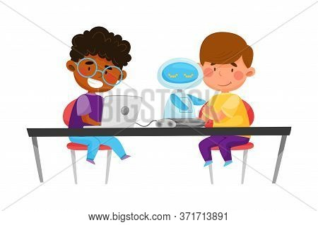 Little Kids Sitting At Table And Configurating Robot Vector Illustration