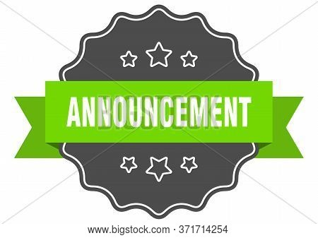 Announcement Isolated Seal. Announcement Green Label. Announcement
