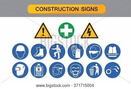 Construction Sign, Protective Equipment , Protection On Work,  Industry Health And Safety Icon Vecto