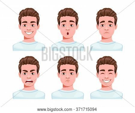Face Expressions Of Handsome Man Cartoon Character, Set Of Six Emotions. Different Male Emotions Set
