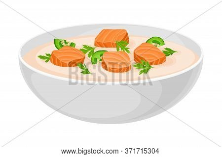 Creamy Soup With Salmon And Pepper Poured In Bowl Vector Illustration