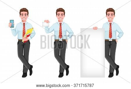 Successful Business Man, Set Of Three Poses. Handsome Businessman In Business Clothes. Cheerful Cart