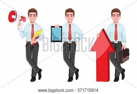 Successful Business Man, Set Of Three Poses. Handsome Businessman In Business Clothes With Loudspeak
