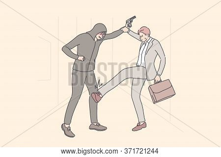 Business, Robbery, Fight Concept. Cartoon Characters Young Businessman Clerk Manager With Suitcase F