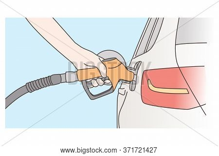 Economy, Filling, Petrol Concept. Human Hand Refueling Car On Fuel Station Or Pumping Gasoline Oil.