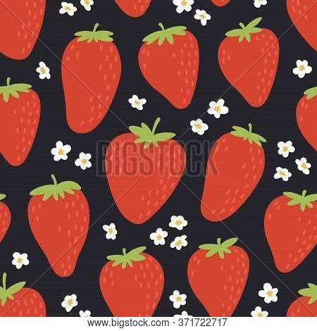 Cute Seamless Pattern With Red Strawberries. Natural Summer Print With Berry, Fresh Fruits And Flowe