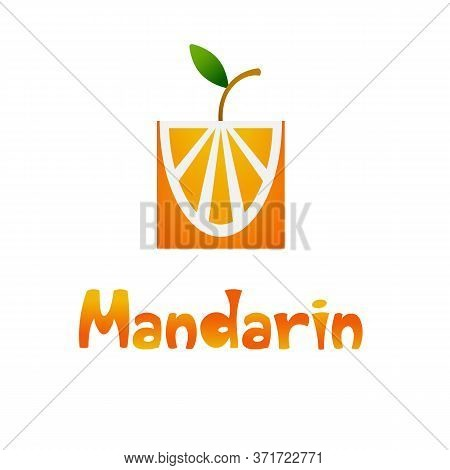 Fresh Tropical Citrus Fruits In A Flat Stylized With A Gradient. Tangerine For Making Fresh Drinks.